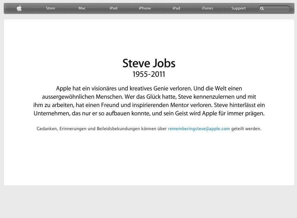 Nach dem Klick auf Steve Jobs Bild öffnet sich diese Seite