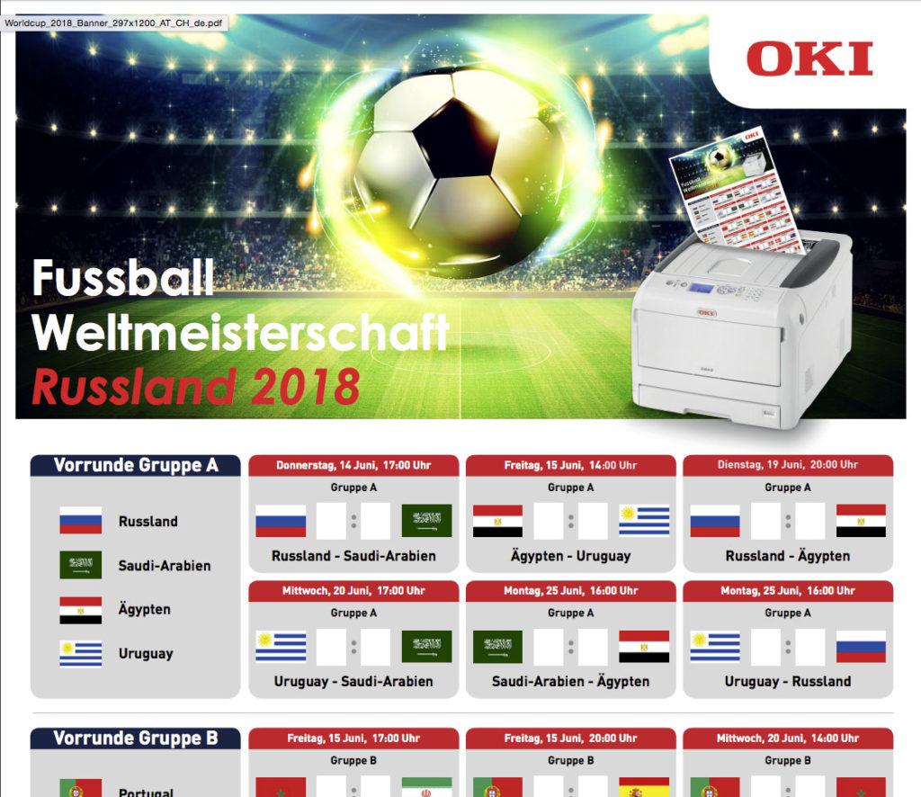 WM-Spielplan von OKI – schnell gedruckt
